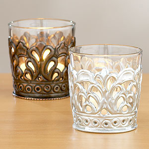 Metal/Glass Votive Holders, Set of 2