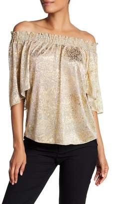 T Tahari Gold Speckled Off-the-Shoulder Blouse