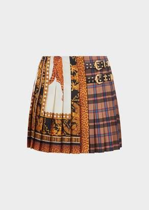 Versace Signature-Tartan Pleated Silk Mini Skirt