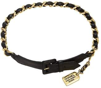 Chanel Black & Gold Chain Cambon Waist Belt 75
