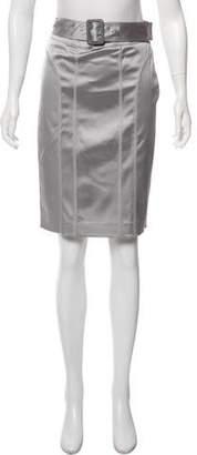 Burberry Belted Knee-Length Skirt
