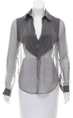 Anthony Vaccarello Semi-Sheer Stripe Blouse