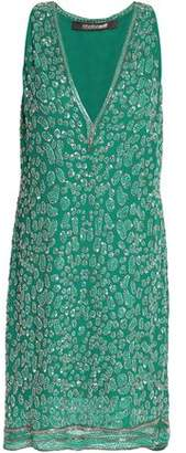 Roberto Cavalli Bead-Embellished Silk Mini Dress