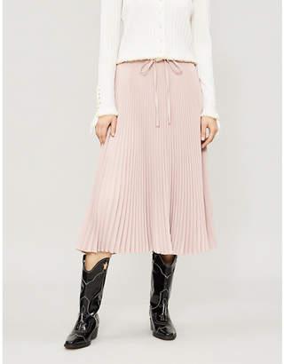 RED Valentino Pleated stretch-crepe midi skirt