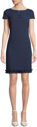 Karl Lagerfeld Paris Cap-Sleeve Sheath Dress w/ Floral Detail