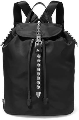 Prada Vela Studded Leather-trimmed Shell Backpack