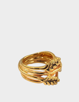 Aurelie Bidermann Large Wheat Ring in 18K Gold-Plated Brass