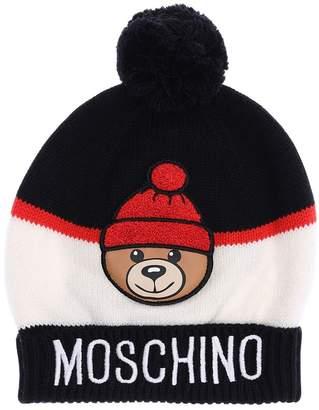 Moschino Pom Pom Acrylic Blend Knitted Hat