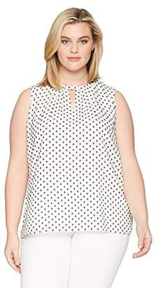 Nine West Women's Plus Clip Dot V Neck Blouse with Collar