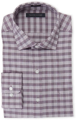 Tommy Hilfiger Berry Windowpane Print Regular Fit Dress Shirt
