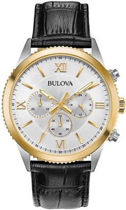 Bulova Men's Chronograph Black Leather Strap Watch 42.5mm