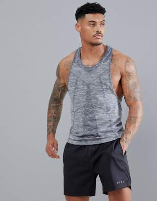 Asos 4505 tank with seamless knit and extreme racer back in gray