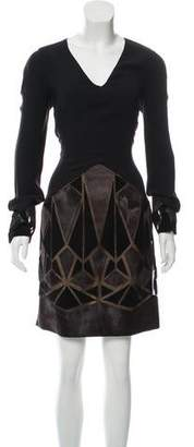 J. Mendel Fur-Accented Long Sleeve Dress