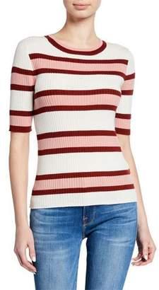 Frame Panel Stripe Ribbed Short-Sleeve Sweater