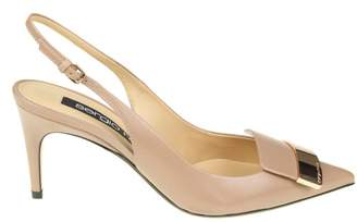 Sergio Rossi Chanel Pointed In Leather Nude Color With Gold Metal Plat