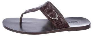 Gucci Embossed Leather Thong Sandals