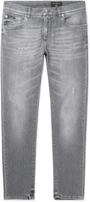 Dolce & Gabbana Slim-Fit Distressed Denim Jeans - Men - Gray