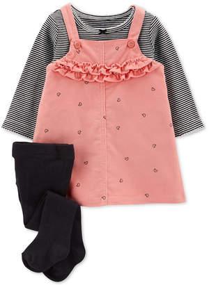 Carter's Baby Girls 3-Pc. Cotton Jumper, Shirt & Tights Set