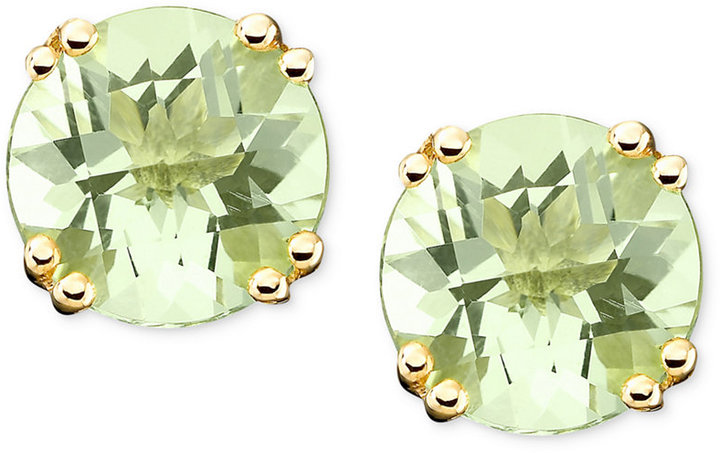 14k Gold Earrings, Green Quartz Stud (3-1/4 ct. t.w.)