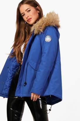 boohoo Petite Lexi Luxe Faux Fur Hood Sporty Parka