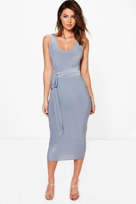 boohoo Holly Slinky Multi Tie Waist Midi Dress