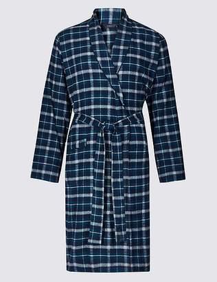 Marks and Spencer Brushed Cotton Checked Dressing Gown