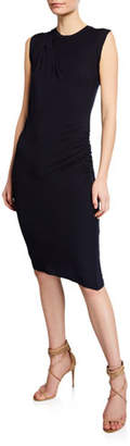 Neiman Marcus Majestic Paris for Crewneck Sleeveless Bodycon Dress with Side Ruching