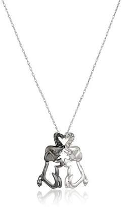 10k Gold Black and White Elephant Couple Diamond Pendant Necklace (.04 cttw