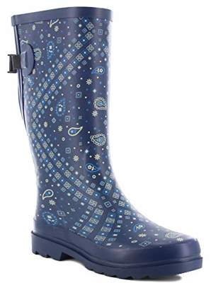 Western Chief Women Wide Calf Rain Boot, Bandana, 7