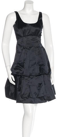 prada Prada Silk Pleat-Accented Dress
