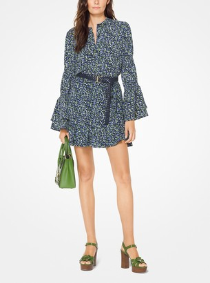 MICHAEL Michael Kors Floral Crepe Belted Skirt