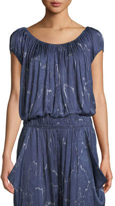 Halston Ruched-Neck Short-Sleeve Top