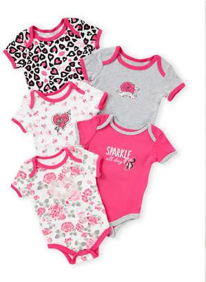 Betsey Johnson Newborn Girls) 5-Pack Pattern Bodysuit Set