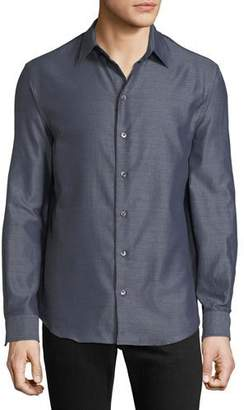 Emporio Armani Men's Long-Sleeve Button-Front Melange Twill Woven Shirt
