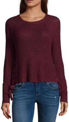EYESHADOW GIRLS Eyeshadow Womens Scoop Neck Long Sleeve Pullover Sweater-Juniors