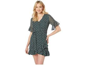 1 STATE 1.STATE Short Sleeve Flounce Flower Etching Wrap Dress