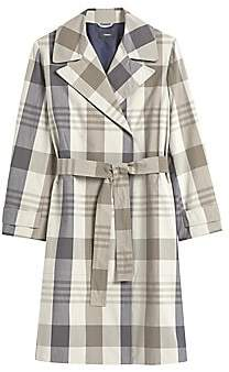 Theory Women's Plaid Military Stretch Silk Trench Coat