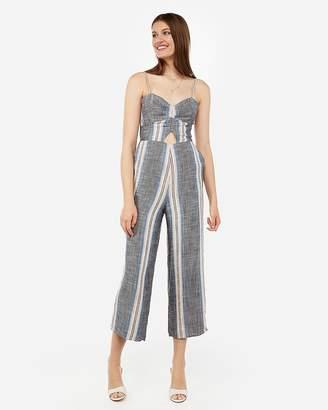 Express Multi-Striped Ruched Bodice Culotte Jumpsuit