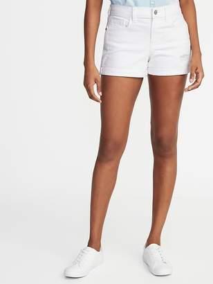 Old Navy Mid-Rise Distressed Boyfriend White Denim Shorts - 3-inch inseam