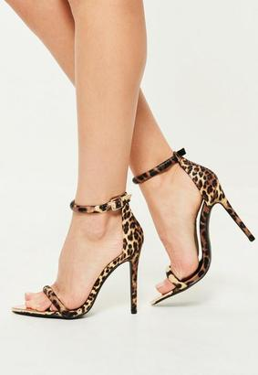 Brown Leopard Metal Toe Barely There Heels $54 thestylecure.com