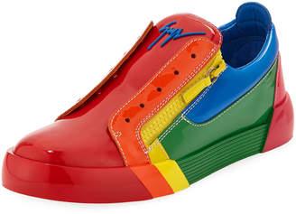 Giuseppe Zanotti Men's Rainbow Patent Leather Low-Top Sneakers
