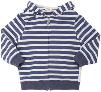 Il Gufo Striped Hooded Zip-Up Cotton Sweatshirt