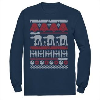 Star Wars Licensed Character Men's Dark Side Ugly Christmas Sweater Style Long Sleeve Tee