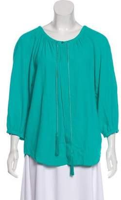Diane von Furstenberg Paeden Tassel Long Sleeve Top
