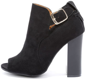 Walk and Talk Black Suede Peep-Toe Booties $36 thestylecure.com