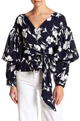 Gracia Floral Tiered Sleeve Wrap Blouse