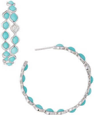 Elizabeth Showers Simone Large Eternity Hoop Earrings, Blue Turquoise
