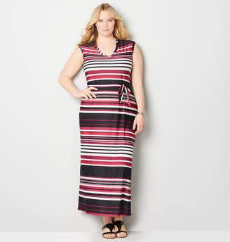 Avenue Stripe Cap Sleeve Maxi Dress