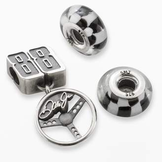 "Insignia Collection NASCAR Dale Earnhardt Jr. Sterling Silver ""88"" Steering Wheel Charm & Checkered Flag Bead Set"