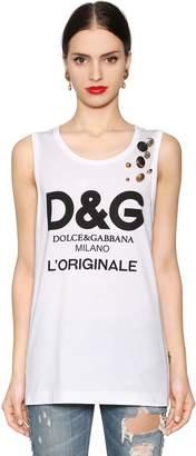 Dolce & Gabbana Logo Print Jersey Tank Top W/ Buttons